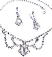 Rhinestone Necklace Choker Earring Set Austrian Crystal Bridal Prom Jewelry