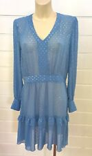CUE PALE BLUE SHEER LONG SLEEVE SILVER DOT DRESS SIZE 12