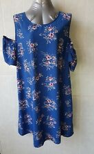 Katies Blue Floral Print Shift Dress, Cold Shoulder, Keyhole Back, Size 20 NWT