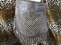 HoBo Fringe Shoulder Bag Faux Leather Dark Brown Rhinestones & Gold Tone Studs