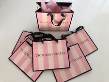 🌺 5 x Victoria's Secret Pink Striped Paper Gift Bags Small Black Satin Handle🌺