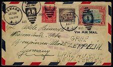 #571 & #C11 ON FIRST FLIGHT ZEPPELIN COVER USA TO GERMANY BR1006
