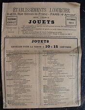 ETABLISSEMENT COURCIER, JOUETS, SEPTEMBRE 1910.LISTE DES TARIFS.