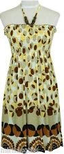 BROWN YELLOW SMOCK HALTER BEADED COCKTAIL DAY EVENING WEAR DRESS S M L XL
