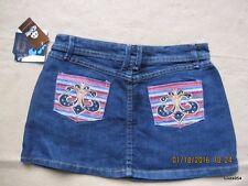 Dereon Fleur De Lis Flower Pink Denim Gold Stone Dark Washed Mini Skirt NWT 16