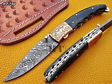 Custom Handmade Damascus Folding Knife with Engraved and Buffalo Horn Handle