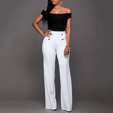 Women's Palazzo Flared Wide Leg Pants High Waist OL Ladies Casual Long Trousers