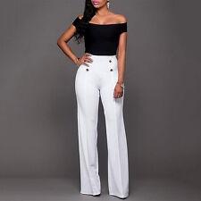US Women Palazzo High Waist Wide Leg OL Career Long Pants Button Casual Trousers