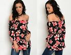 Womens Ladies Floral Print Summer Off the Shoulder Gypsy Top Size 10 12 14 16