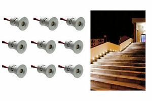 Set da 9 mini faretto incasso led 1w luce calda segnapasso esterno interno