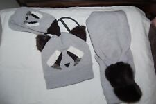 M&S Hat Scarf and Mittens Set Grey Animal Face Age 10-14 Years BNWT