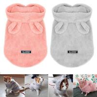 Pyjama pour petit chien chat Sweat à capuche Vêtements Chihuahua Doux chaud Rose