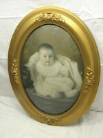 Ornate Gesso Wood Gold Gilt Dome Bubble Glass Picture Frame Convex Baby Photo