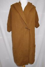 Vince Sweater Coat Cardigan Sz XS Cashmere Alpaca Solid Brown 3/4 Sleeve Hooded