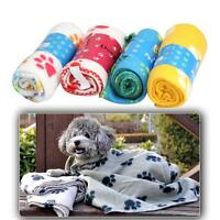 60x70cm Pet Dog Cat Puppy Paw Print Fleece Couture Cozy Blanket Mat Sheet Soft