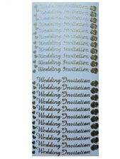WEDDING INVITATION Peel Off Stickers Hearts Rings Wedding Stationery Gold Silver