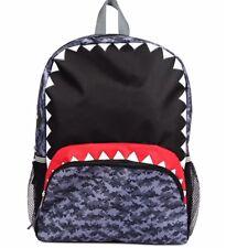 Boys Geometric Camo, Shark w Teeth Mouth, School, Travel Backpack