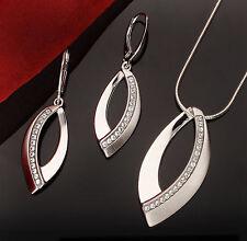 Echtes 925 Silber SCHMUCKSET Anhänger + Ohrhänger mit Swarovski Elements