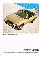 Publicité Advertising 1984 Cabriolet Ford Escort XR3i