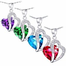 """5.66 Cttw .925 Sterling Silver Heart Cut Gemstone Pendant Necklace w/ 18"""" Chain"""