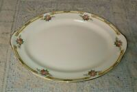 "Taylor Smith Taylor TST11 13"" Oval Serving Platter Floral Bouquets Yellow Band"