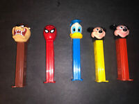 Lot of 5 Vintage PEZ Dispensers WIth Feet Mickey, Donald, Taz, SPIDERMAN