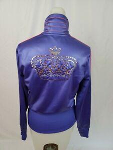 ADIDAS Missy Elliott Respect Me Purple Embellished Crown Track Jacket Small EUC