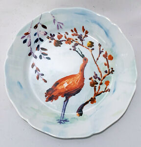 Anthropologie Discontinued Avian Canopy Bird Salad Plate Indonesia Porcelain