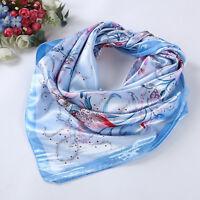 "Womens Silk-Satin Square Shawl Scarf Head Hijab Flower Print Satin Wraps 35""*35"""