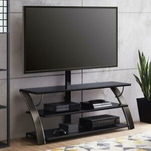"Payton 3-in-1 Flat Panel TV Stand for TVs up to 65"", Charcoal, Whalen"
