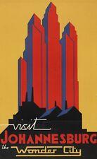 Vintage Travel Poster Visit Johannesburg the Wonder City 38.2 x 24 inch