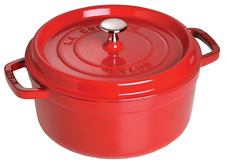 Staub Cast Iron 4-qt Round Cocotte Cooking Pot - Cherry NEW