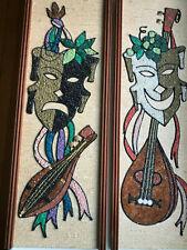 VTG Mid Century Pair Gravel Art Mosaic Wall Plaques Theater Masks/MCM  VGC
