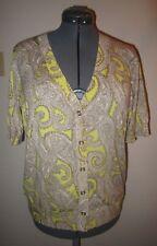 TALBOTS Womens Brown Cream Yellow Paisley Cardigan Sweater NWT NEW Size XL