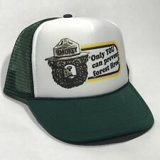 Smokey Bear US Park Service Mascot Trucker Hat Only You Vintage Forest Green Cap