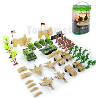 64 pcs Military Playset Plastic Toy Soldiers Army Men 1:36 Figures & Accessories