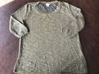 Women's Size XL MOSSIMO Sweater Mesh Lace Back  Green