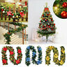 9FT Christmas Tree Decoration 50LED Lights Pre-Lit Garland Fireplace Pine Wreath