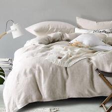 Linen Quilt Cover Set, 100% Pure French Linen Doona Cover Set Bedding Queen King