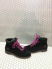 The North Face Heetseeker Black Suede Lace Up Insulated Ankle Boots Women Size 9