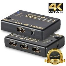 Fosmon 3x1 3 Port High Speed 4K 3D Ready HD HDMI Selector Switch Box w/ Remote