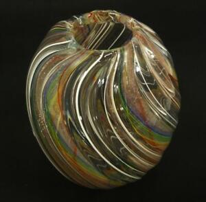 HAND BLOWN GLASS  ART DECOR VASE, DIRWOOD, GLASS CANES & GOLD SPARKLES, n3640
