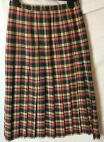 EQUORIAN SKIRT ~ Size 8 10 26W~ Yellow Blue ~ Pleated Kilt Check tartan Midi ~ X