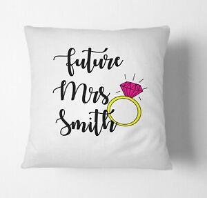Personalised Future Mrs Wedding Wife Fiance Name Cushion Cover Case & Insert