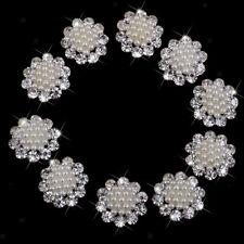 10pcs Crystal Diamante Pearl Brooches Flatback for DIY Wedding Bouquet 20mm