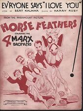 Everyone Says I Love You 1932 Marx Brothers in Horse Feathers Sheet Music