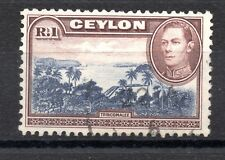 Ceylon (3250) 1938 King George V1 1r blue violet and chocolate used sg395a Uprig