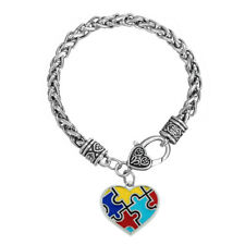 Enamel Color Heart Autism Awareness Jigsaw Puzzle Pendant Wheat Chain Bracelet