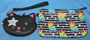 LUV BETSEY JOHNSON Cat Unicorn Wristlet Coin Purse & Small Rainbow Clutch