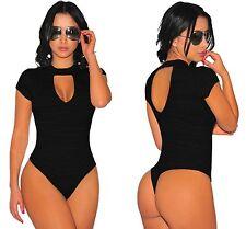 LADIES SEXY BLACK KEYHOLE BACK PEEP CHOKER BODYSUIT TOP DRESS  6 8 10 12 14 18